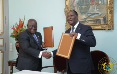 President Akufo-Addo and President Ouattara after the signing of the Declaration
