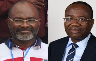Hon. Kennedy Agyapong (Left) and Mr. Kwasi Nyantakyi -President of the Ghana Football Association (GFA) [Right][/caption]