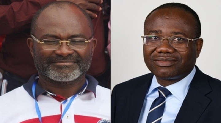 Hon. Kennedy Agyapong (Left) and Mr. Kwasi Nyantakyi -President of the Ghana Football Association (GFA) [Right]