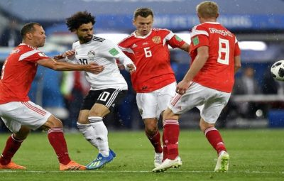 Mohamed Salah (in-white) scored, but Russia scored the first three to move to six points.