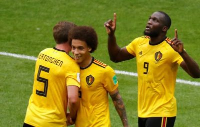 Romelu Lukaku of Belgium and co celebrated after scoring one of his