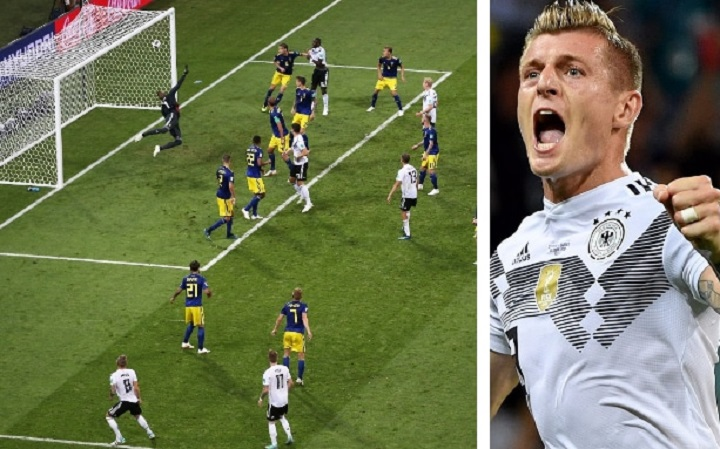 Toni Kroos scores stunning last-gasp winner to keep Germany's World Cup hopes alive after Jerome Boateng red.