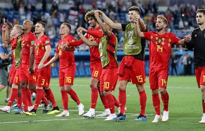 Belgium players celebrate at Russia 2018 FIFA World Cup