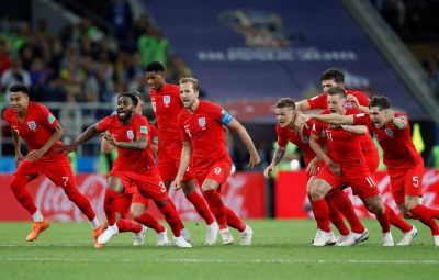 England national football team celebrate after defeated Colombia 4-3 on penalties