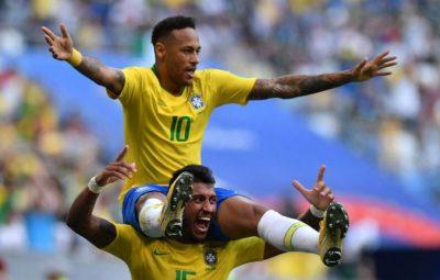 Neymar celebrates with Paulinho after scoring the opening goal.