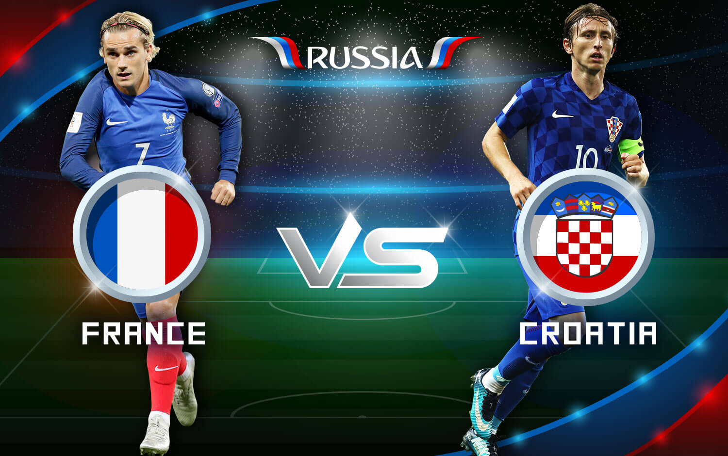 France vs Croatia at Luzhniki Stadium, Moscow - Russia, 2018 FIFA World Cup.