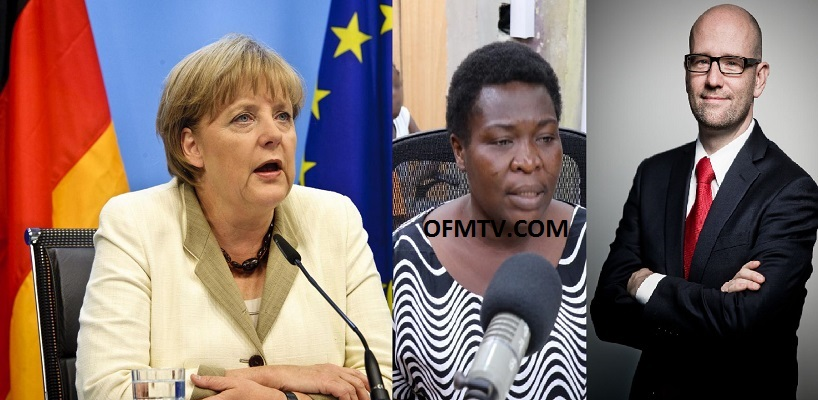 Germany Chancellor Angela Dorothea Merkel, Comfort Nnakenebe - Ghanaian deportee and Peter Tauber - Secretary General of the CDU