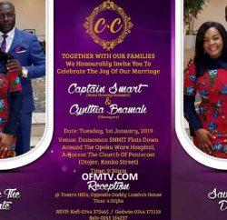 Captain Smart and his new USA girlfriend Cynthia Boamah invitation card