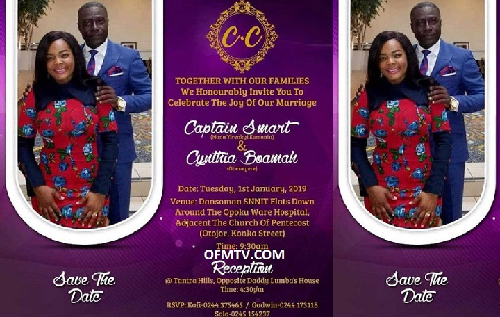 Captain Smart and his new USA girlfriend Cynthia Boamah invitation card
