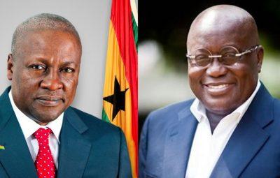 Ghana's former President John Dramani Mahama and current President Nana Addo Dankwa Akufo-Addo.