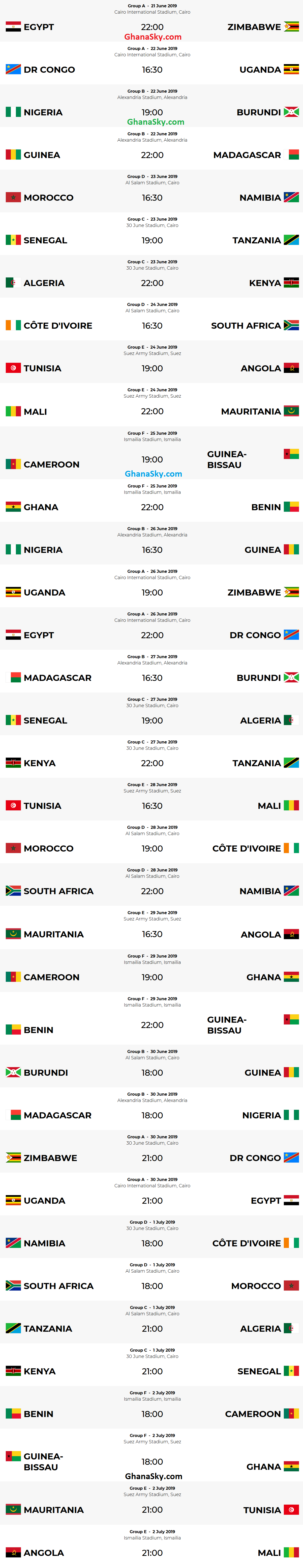 Africa Cup Of Nations Egypt 2019 Fixtures