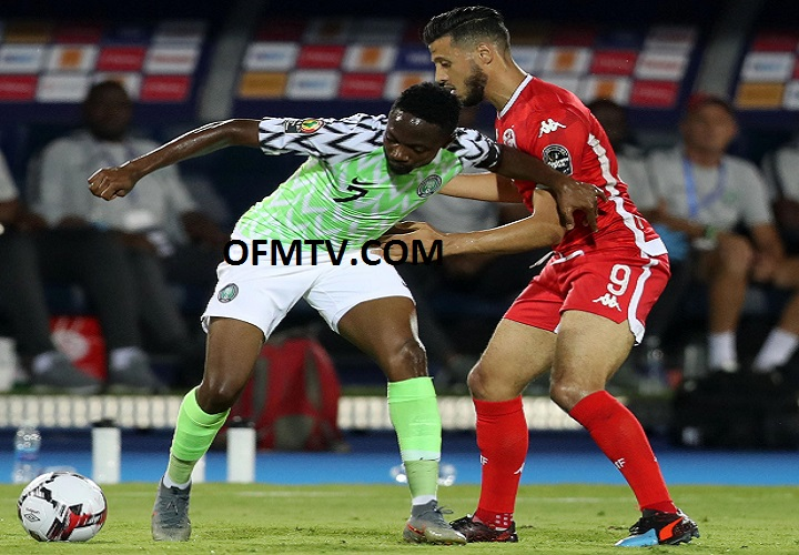 Ahmed Musa of Nigeria challenged by Anice Badri of Tunisia during the 2019 Africa Cup of Nations Finals, 3rd and 4th place match between Tunisia and Nigeria at Al Salam Stadium, Cairo, Egypt.