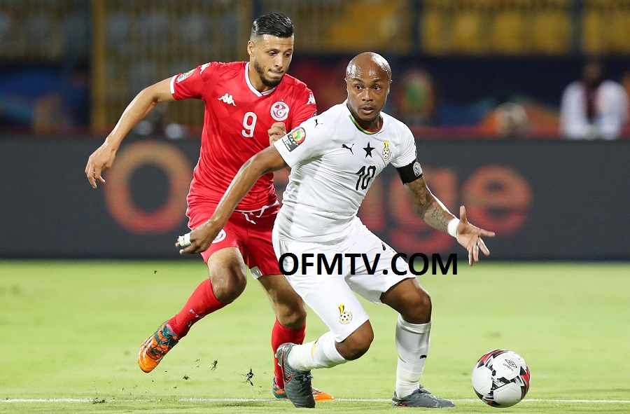 Andre Ayew of Ghana challenged by Anice Badri of Tunisia during the 2019 Africa Cup of Nations Last 16 match between Ghana and Tunisia at the Ismailia Stadium, Egypt.