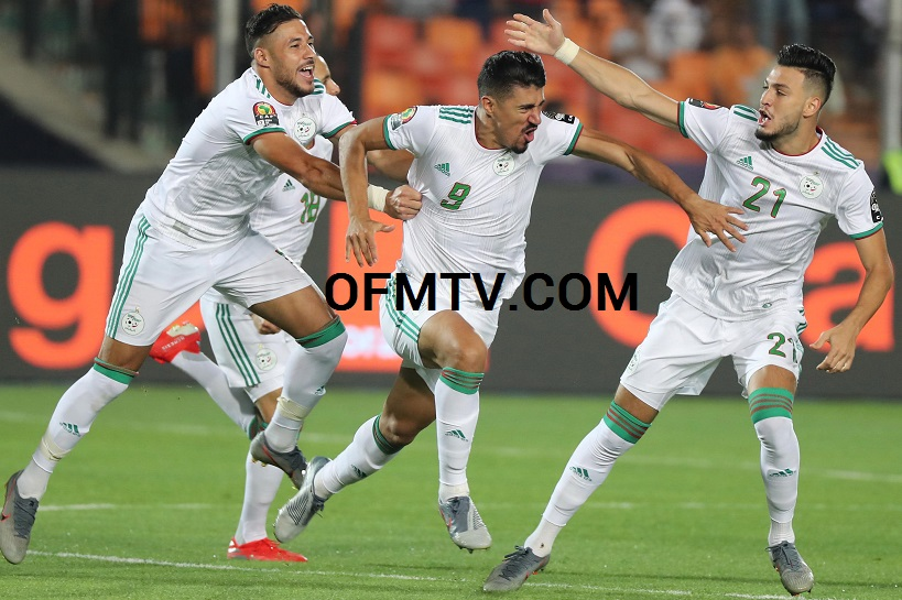 Baghdad Bounedjah of Algeria celebrates goal during the 2019 Africa Cup of Nations Finals Final football match between Senegal and Algeria at the Cairo International Stadium, Cairo, Egypt.