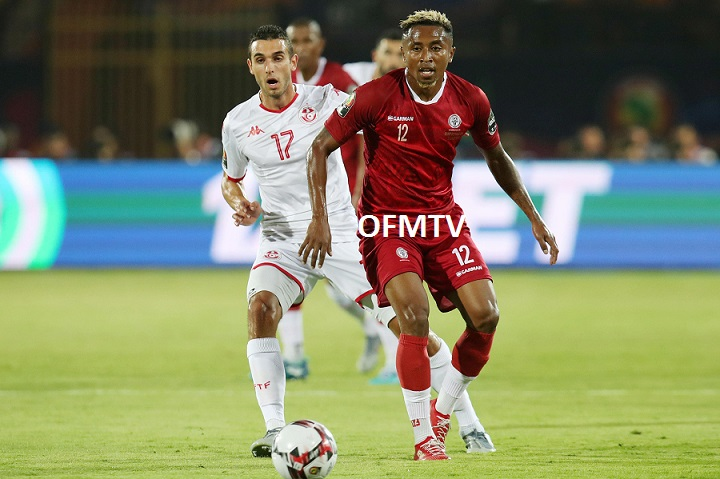 Lalaina Henintsoa Enjanahary of Madagascar challenged by Ellyes Joris Skhiri of Tunisia during the 2019 Africa Cup of Nations Quarterfinals match between Madagascar and Tunisia at the Al Salam Stadium, Cairo Egypt.