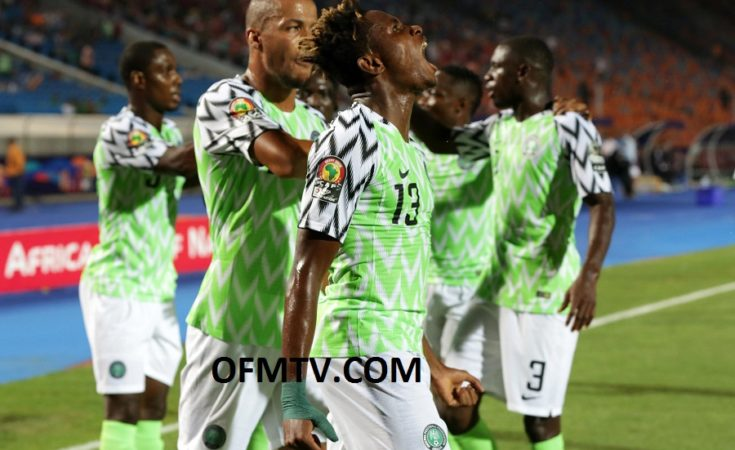 Samuel Chukwueze of Nigeria celebrates goal with teammates during the 2019 Africa Cup of Nations Finals, quarterfinals match between Nigeria and South Africa at Cairo International Stadium, Cairo, Egypt
