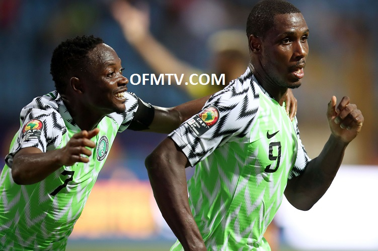 Odion Jude Ighalo of Nigeria celebrates goal with Ahmed Musa of Nigeria during the 2019 Africa Cup of Nations Last 16 match between Nigeria and Cameroon