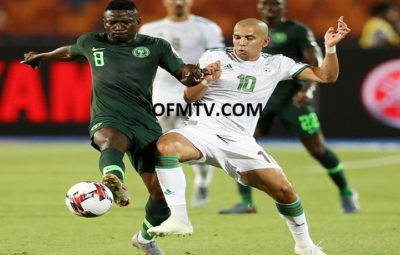 Peter Etebo of Nigeria challenged by Sofiane Feghouli of Algeria during the 2019 Africa Cup of Nations Finals, Semifinals match between Algeria and Nigeria at Cairo International Stadium, Cairo, Egypt.