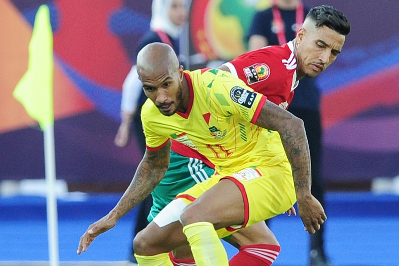 Emmanuelle Imorou of Benin is challenged by Nabil Dirar of Morocco during Egypt 2019 Africa Cup of Nations