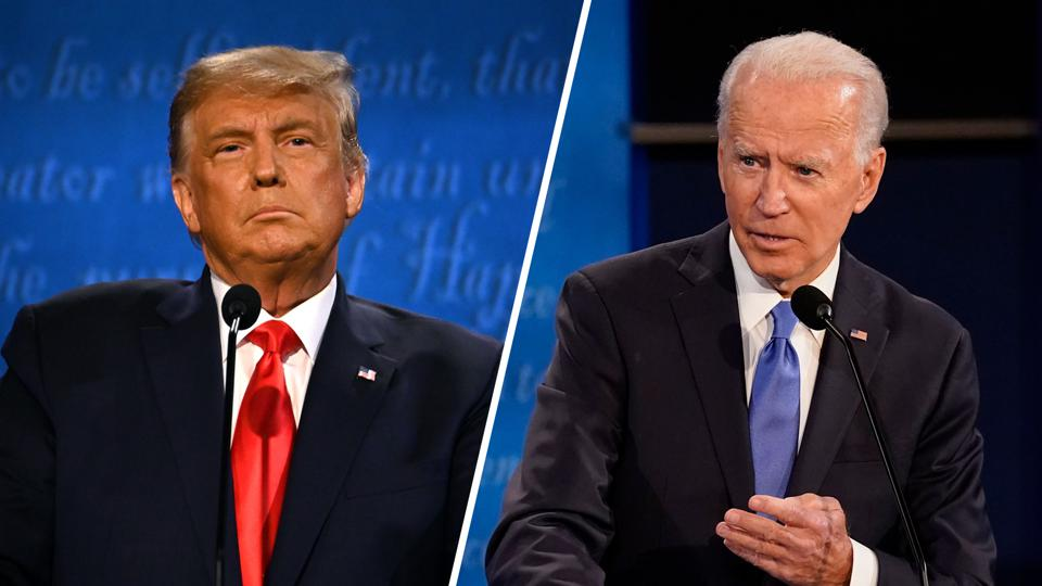 Joe Biden (R) wins presidency, defeating Donald Trump (L)
