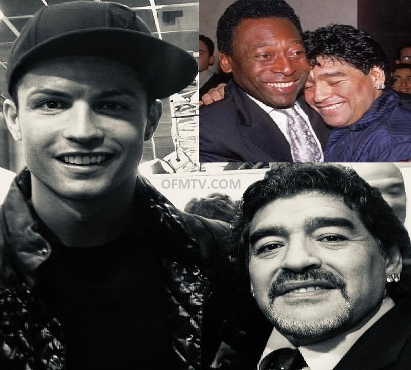 Cristiano Ronaldo (Left), Diego Maradona And Pele