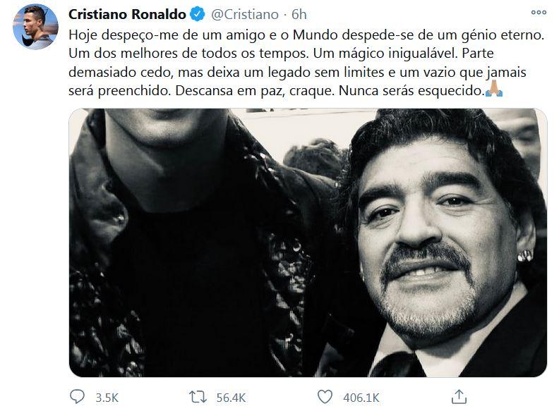 Cristiano Ronaldo (Left) and Diego Maradona